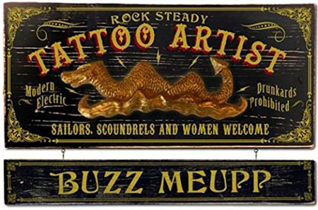 5. Tattoo Artist Wood Plank Sign with Personalized Nameboard