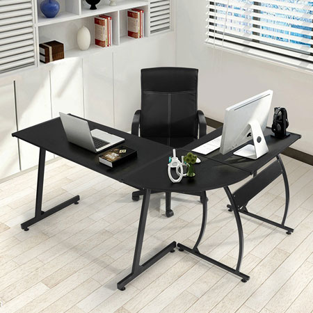 5. GreenForest L-Shape Corner Computer Desk PC Laptop Table Workstation Home Office 3-Piece,Black