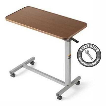 1. Eva Medical Adjustable Overbed Table with wheels