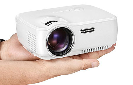 5. Mini Projector, Simple beam GP70 1200 Lumens LED Mini Portable 1080p projector