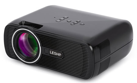 10. Mini Projector, LESHP 1080P HD 3D Projector for Home Cinema Theater