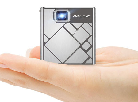 9. AmazPlay Mobile DLP Pico Projector - Portable Mini Pocket Cube Design