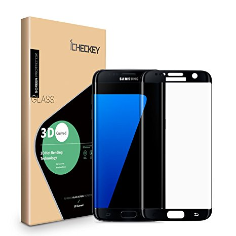 19. Icheckey [Upgraded] 3D Curved Full Coverage Tempered Glass Screen Protector