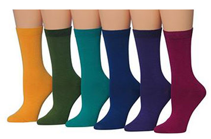 5. Tipi Toe Women's 6-Pairs Colorful Patterned Crew Socks
