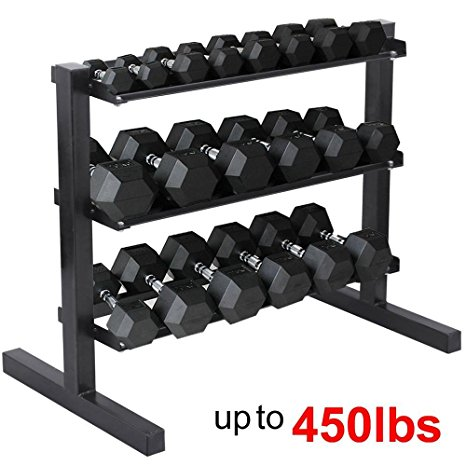 5. Yaheetech 3 Tier Horizontal Dumbbell Rack