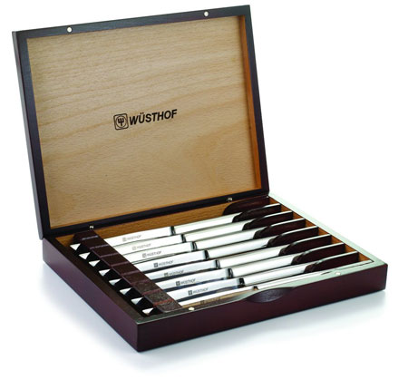 3. Wasthof 8pc Steak 8-Piece Stainless Steel Steak Knife Set With Wooden Gift Box