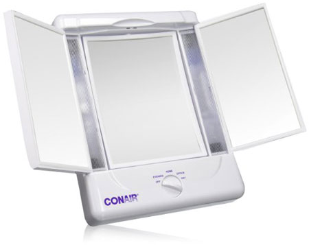 9. Illumina by Conair Collection Two-Sided Lighted Makeup Mirror with 3 Panels and 4 Light Settings