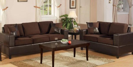 6. Bobkona Seattle Microfiber Sofa and Loveseat 2-Piece Set in Chocolate Color