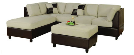 5. Bobkona Hungtinton Microfiber/Faux Leather 3-Piece Sectional Sofa Set, Mushroom