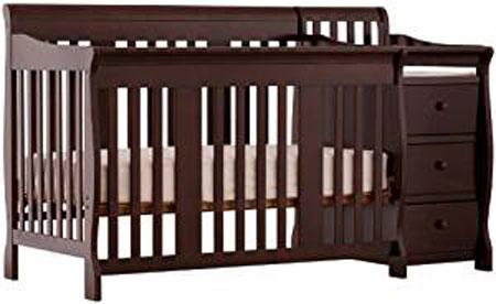 7. Stork Craft Portofino 4-in-1 Fixed Side Convertible Crib and Changer, Espresso