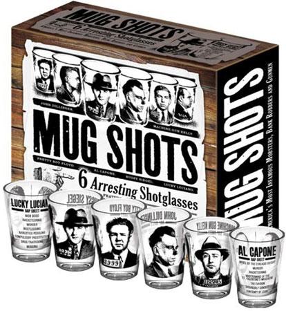 6. Famous Gangster Mugshots Glass Set
