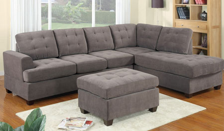 3. 3pc Modern Reversible Grey Charcoal Sectional Sofa Couch with Chaise and Ottoman - Grey Living Room Sectional