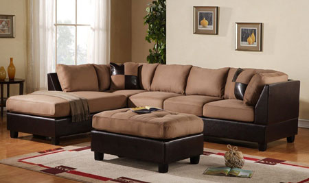4. 3-Piece Modern Reversible Microfiber / Faux Leather Sectional Sofa Set w/ Ottoman (Hazelnut)