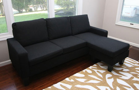 7. Large Black Cloth Modern Contemporary Upholstered Quality Left or Right Adjustable Sectional