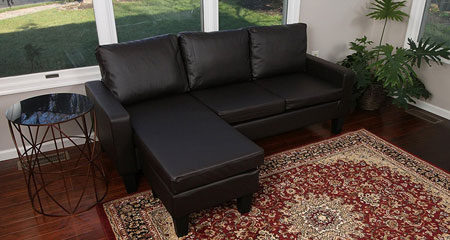 1. Large Espresso Brown Leather Modern Contemporary Upholstered Quality Left or Right Adjustable Sectional
