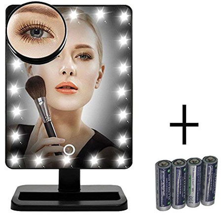 4. FLYMEI® Touch Screen 20 LED Lighted Makeup Mirror with Removable 10x Magnifying Mirrors