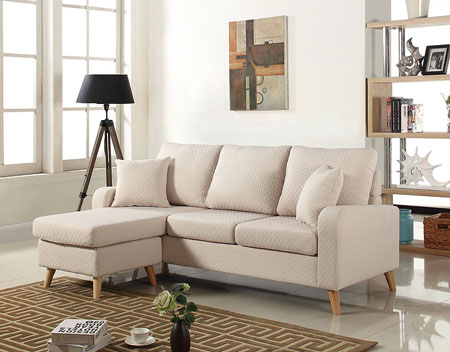10. Mid Century Modern Linen Fabric Small Space Sectional Sofa with Reversible Chaise (Beige)