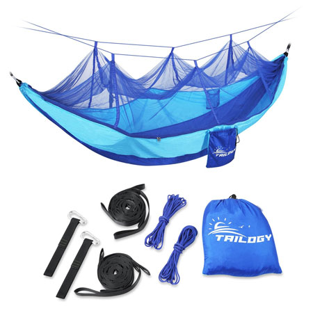 9. Reversible Camping Hammock with Mosquito Net including Suspension Strap