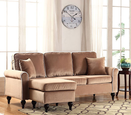 9. Classic and Traditional Small Space Velvet Sectional Sofa with Reversible Chaise (Champagne)