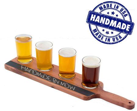 3. Handmade Deluxe Professional Beer Flight with Chalkboard