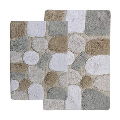 9. Chesapeake 2-Piece Pebbles 21-Inch by 34-Inch and 24-Inch by 40-Inch Bath Rug Set