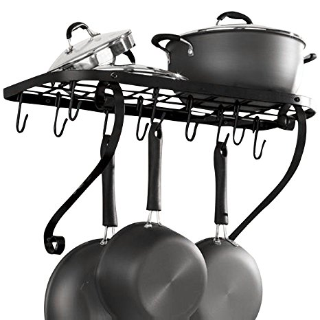 9. VDOMUS Square Grid Wall Mount Pot Rack