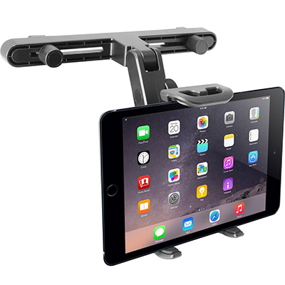 1. Macally customizable auto situate headrest mount