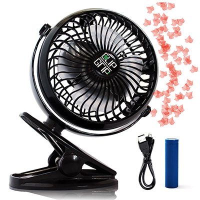 4. ClipGrip Powerful Rechargeable Battery Operated Clip Fan